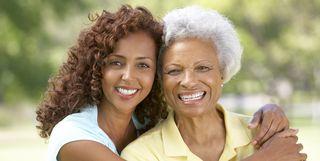 Grandmother and granddaughter horizontal